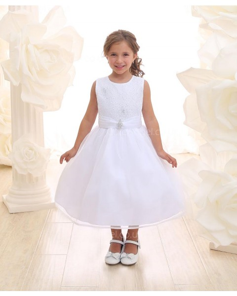 Girls Dress Style 069218 White Tea-length Beading Round A-line Dress in Choice of Colour