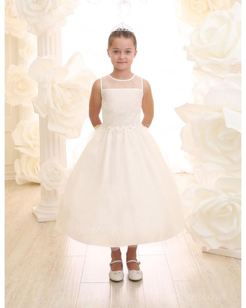 Girls Dress Style 069318 Ivory Tea-length Hand Made Flower , Beading Round A-line Dress in Choice of Colour