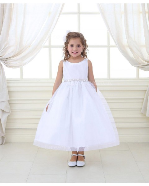Girls Dress Style 069518 Ivory Ankle Length Beading Round A-line Dress in Choice of Colour