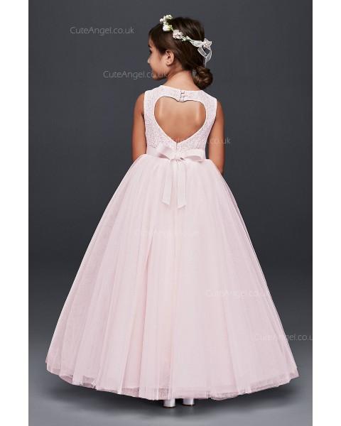 Pink Ball Gown Flower Girl Dress with Heart Cutout