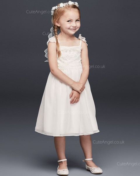 Tea Length Chiffon Flower Girl Dress With Tiered Lace Bodice