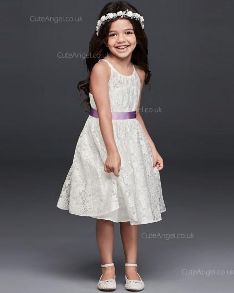 A-line Princess Knee Length Lace Tie Back Halter Flower Girl Dress