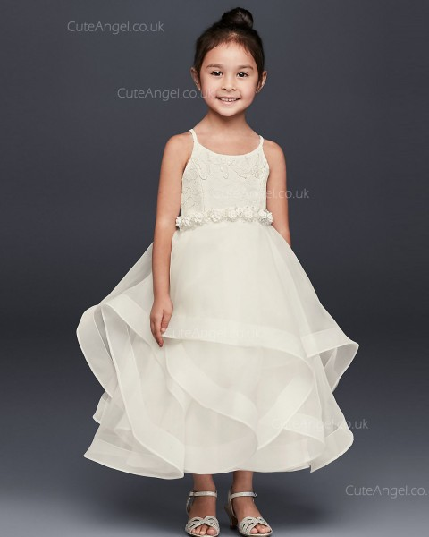 Ivory Handmade Flower Lace and Tulle Flower Girl Dress with Full Skirt