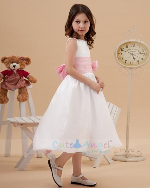 Beautiful Bateau Collar A-line Tea-length Ivory Flower Girl Dress