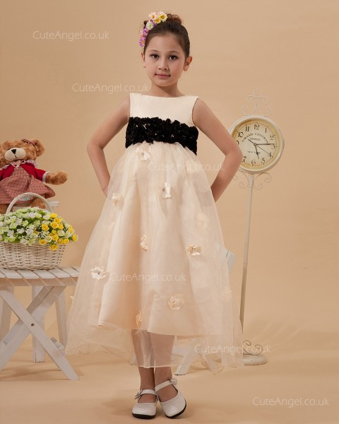 Beautiful Best Champagne Tea-length A-line Pageant / First Communion Dress