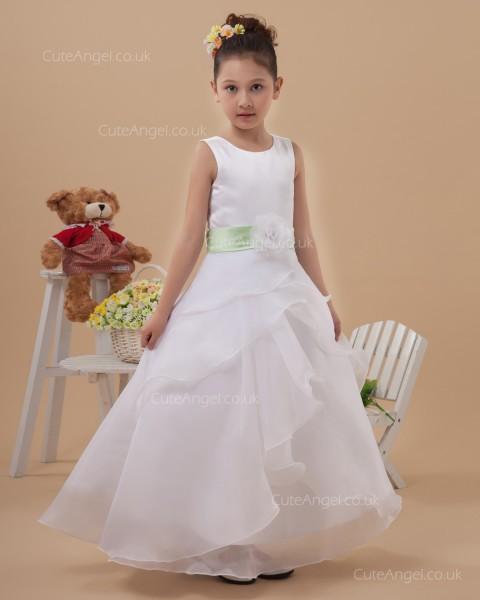Beautiful Girls White Floor-length A-line First Communion / Flower Girl Dress