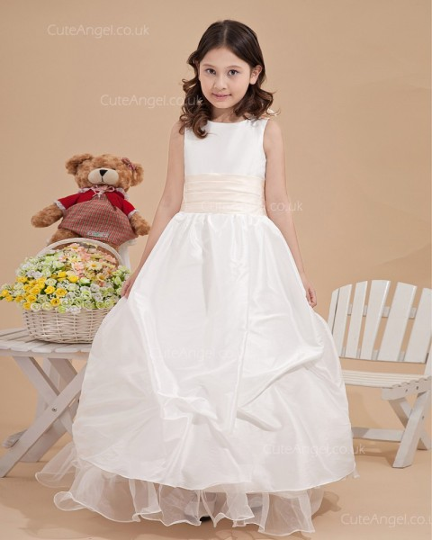 Beautiful Ivory Floor-length Hand Made Flower A-line Flower Girl Dress