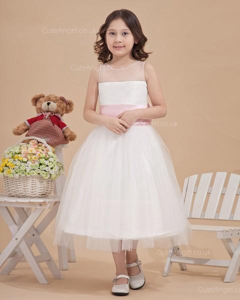 Beautiful Romantica Ivory Tea-length Ball Gown First Communion / Flower Girl Dress