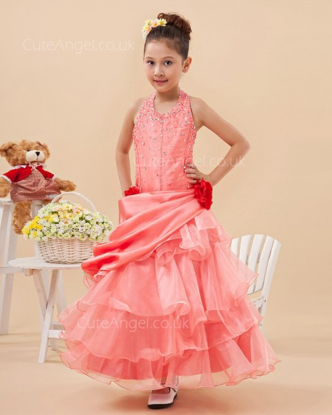 Budget Best Watermelon Floor-length A-line First Communion / Pageant Dress