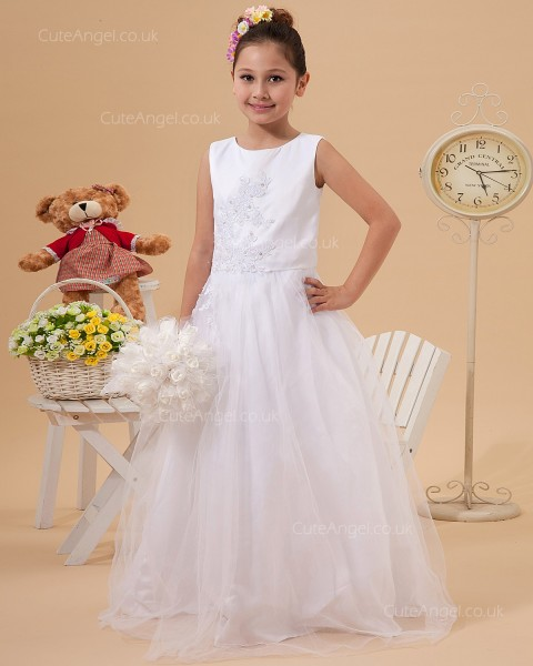 Budget Princess Applique Softly Curved Collar Flower Girl Dress