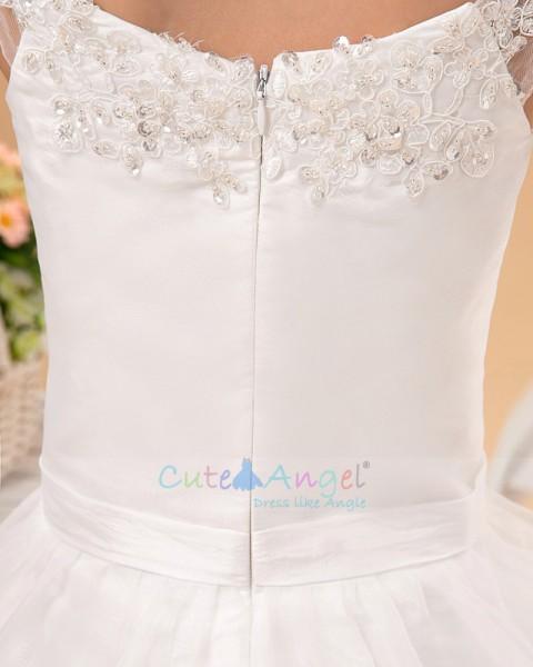 Budget Princess Tea-length Applique Bateau Collar A-line Organza Flower Girl Dress