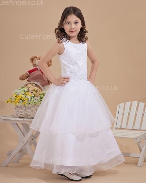 Budget Stunning Ivory Floor-length A-line First Communion / Flower Girl Dress