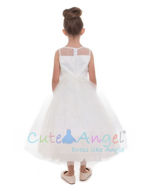 High Quality Satin Dress with Tulle Skirt and Gorgeous Scalloped Lace on the Bodice