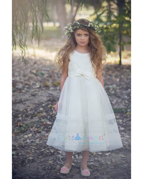 Lace Dress with organza skirt and Capp Sleeves Girls Party Dresses