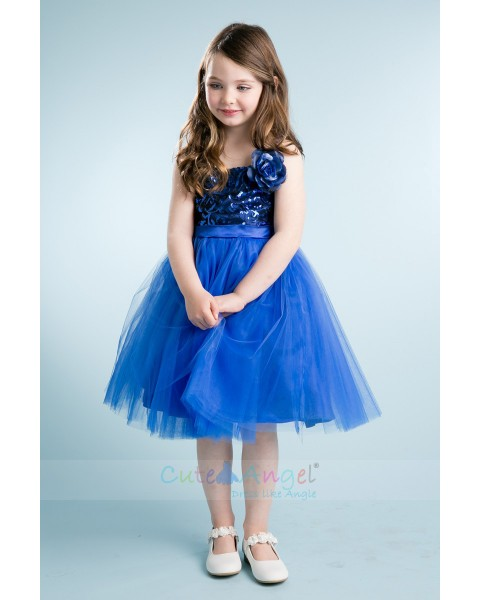 Floral Sequin Bodice with Tulle Skirt Royal Blue Girls Prom Dress