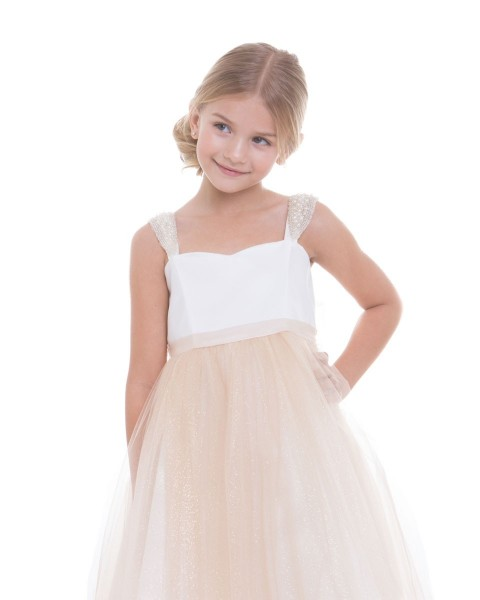 Girl Party Dress Satin Bodice with Handmade Pearl Shoulder Patch and Shimmery Glitter Mesh Skirt