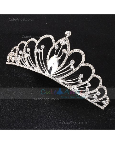 Sparkling Crystal Silver Tiara Crown Headpiece Girl Prom Hair Ornaments Hair Jewelry Accessories