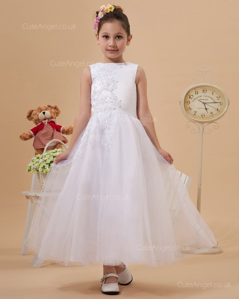 Cheap Best Ivory Ankle Length A-line First Communion / Flower Girl Dress