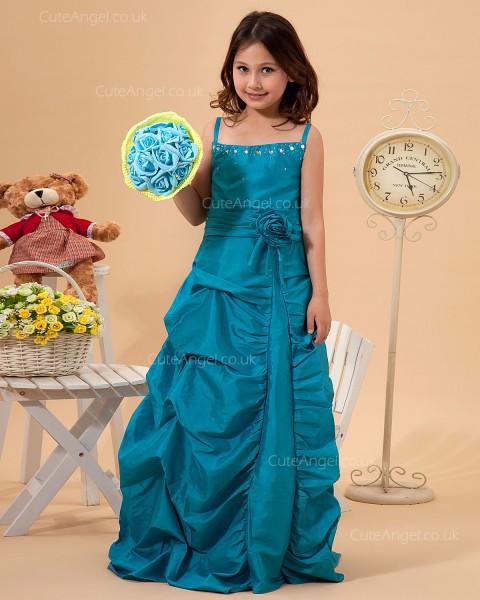 Cheap Girls Ocean Blue Sweep A-line First Communion / Pageant Dress