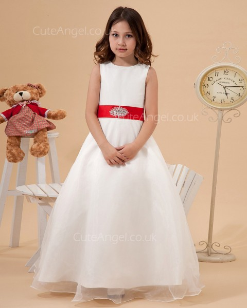 Cheap Ivory Floor-length A-line First Communion / Flower Girl Dress