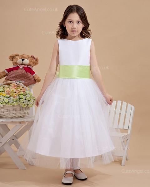 Designer Amazing Vintage Ivory Tea-length Ball Gown First Communion / Flower Girl Dress