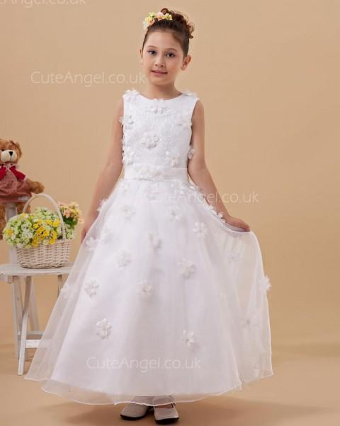 Designer Ivory Ankle Length A-line First Communion / Flower Girl Dress