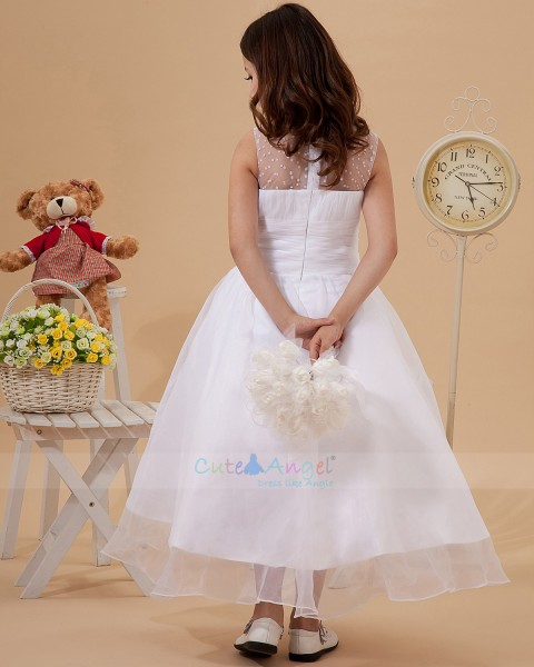 Elegant Best White Tea-length beading Flower Girl Dress / First Communion Dresses