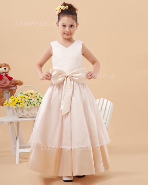 Elegant Discount Champagne Floor-length A-line First Communion / Flower Girl Dress