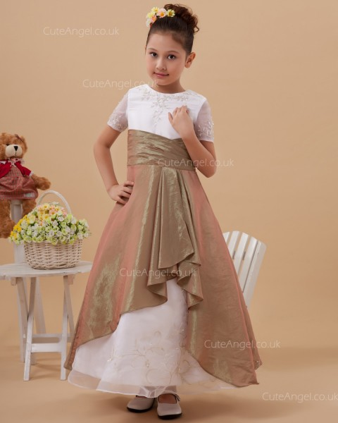 Elegant Girls Brown Ankle Length A-line First Communion / Pageant Dress