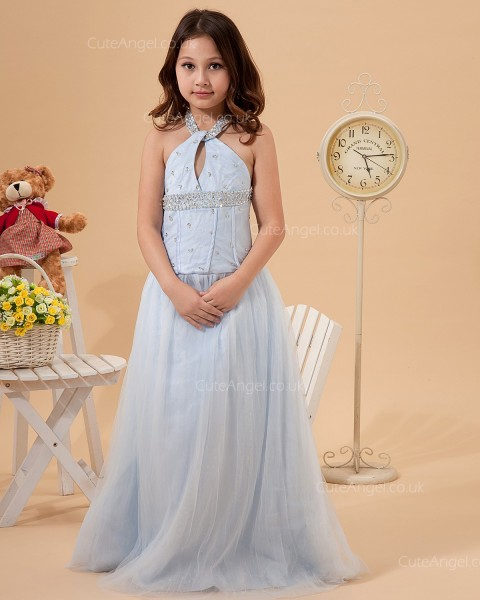 Elegant Girls Sky Blue Sweep A-line First Communion / Pageant Dress