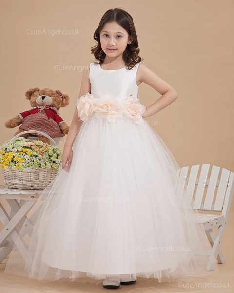 Elegant Ivory Ankle Length A-line First Communion / Flower Girl Dress