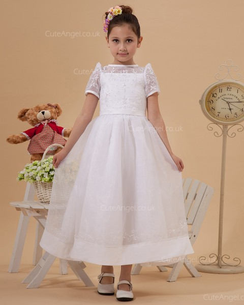 Elegant Ivory Tea-length A-line First Communion / Flower Girl Dress