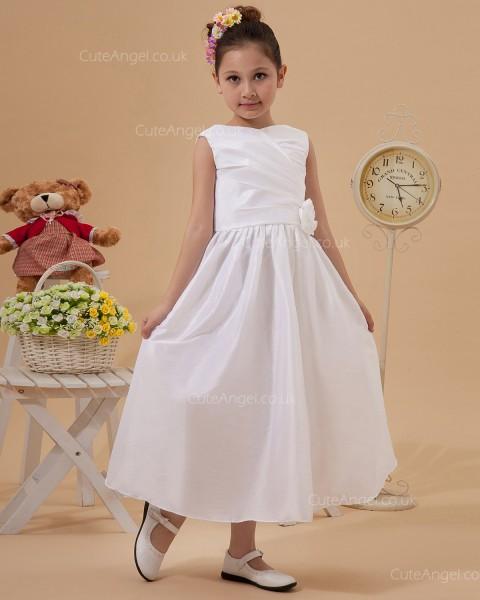 Elegant Stunning Ivory Tea-length A-line First Communion / Flower Girl Dress