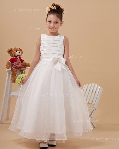 Fitted Celebrity Ivory Ankle Length Ball Gown First Communion / Flower Girl Dress
