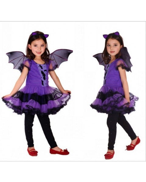 Fancy Masquerade Party Bat Girl Costume Children Cosplay Dance Dress for Kids Purple Halloween Clothing Lovely Dresses
