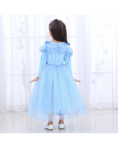Halloween Blue Girls Dress Cinderella Long Sleeve Princess Dress Girl Autumn Ice Romance Performance Costume Dress