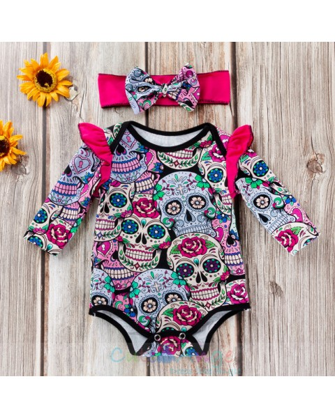 Skull Print Romper Infant Girls Halloween Pajamas Novelty Baby Boys Palysuit Clothes Carnival Party Cosplay Newborn Jumpsuits