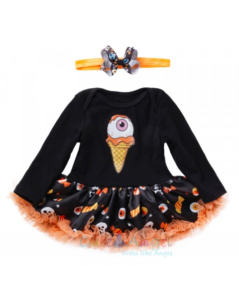 Halloween Tutu Costumes Skull Head Baby Tutu Romper headband Shoes Socks 4 Pcs Bebes Clothing Set Girl Halloween Tutu Costumes