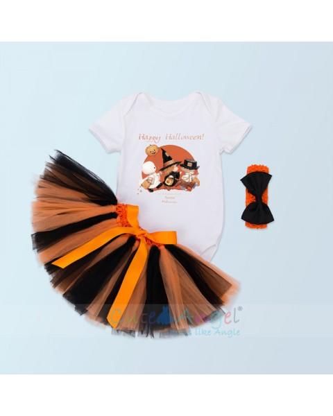 2018 New Short Sleeve Blouse Infant Handmade Dress Set Halloween Pumpkin Three-piece Suit