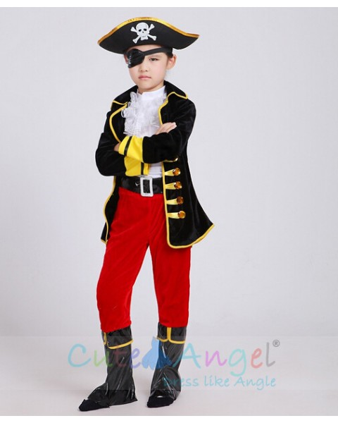 One-eyed Pirate Suit Children Cartoon Captain Jack Costumes Halloween Boy's Party Cloth Pirates of the Caribbean
