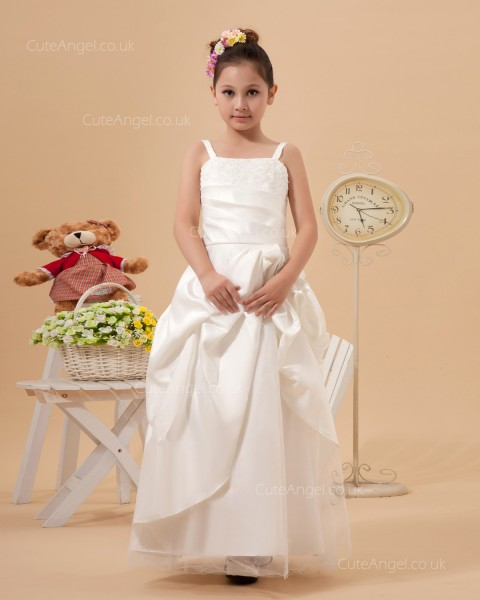 Ivory Applique Organza Bateau Collar A-line Flower Girl Dress