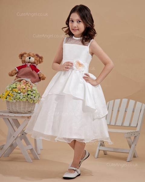 Lovely Ivory Or White Tea-Length Organza Flower Girl Dress With Hand Made Flower