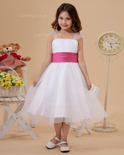 Online White Tea-length A-line First Communion / Flower Girl Dress