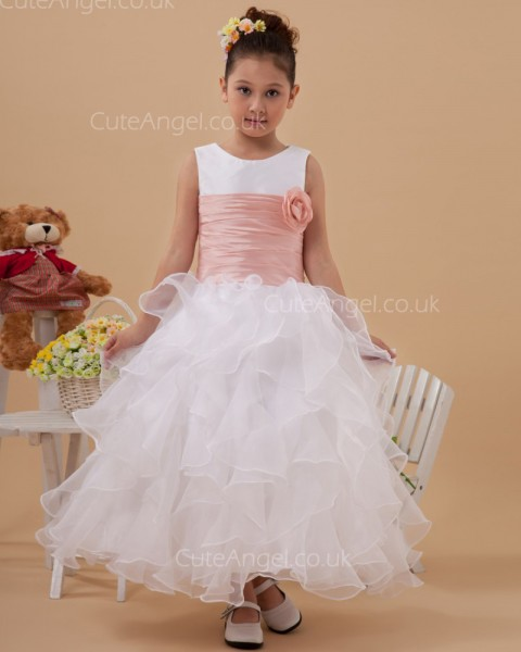 UK Beautiful Stunning White Ankle Length A-line First Communion / Flower Girl Dress