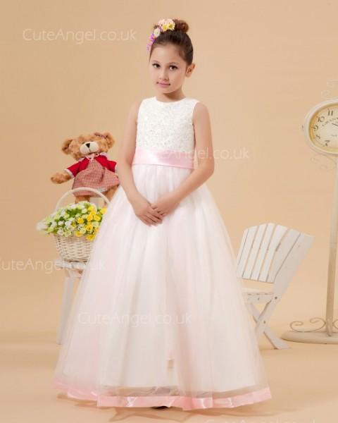 UK Best Ivory Floor-length A-line First Communion / Flower Girl Dress