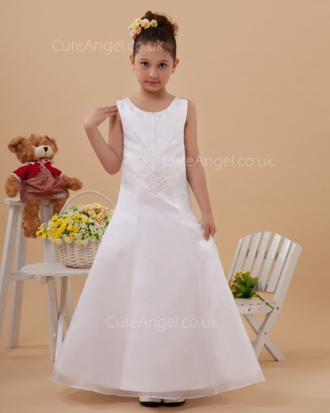 UK Ivory Floor-length A-line First Communion / Flower Girl Dress