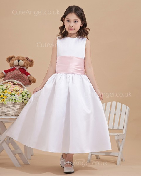 Unique Ivory Ankle Length A-line Girl Dresses with Big Bowknot