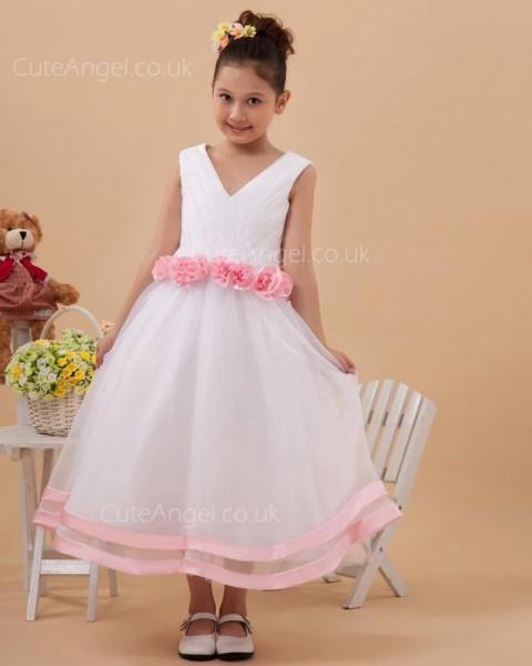 Vintage Celebrity Ivory Tea-length A-line First Communion / Flower Girl Dress