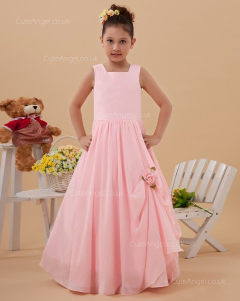 Vintage Girls Blushing Pink Floor-length A-line Flower Girl / DressFirst Communion Dress