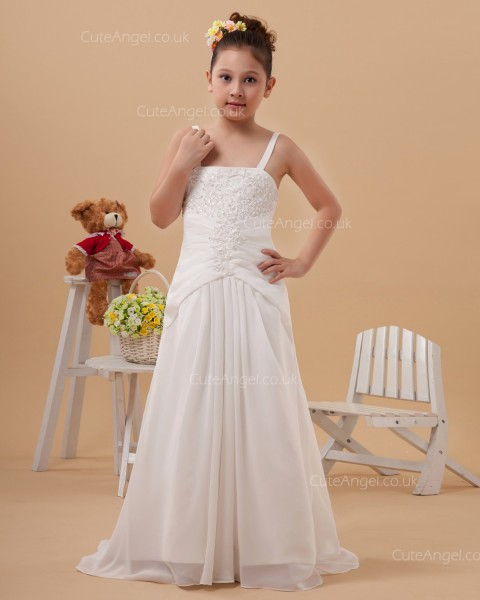 Vintage Romantica Ivory Sweep A-line First Communion / Flower Girl Dress